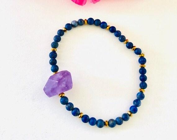 Boho Lapis Beaded Stack Stretch Bracelets, Boho jewelry, Friendship bracelet, stacking bracelet, beaded bracelet, gemstone bracelet