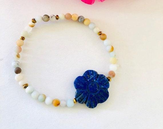 Boho beaded Stack Stretch Bracelets with Lapis Flower, Stretchy bracelet, gemstone bracelet, Lapis flower jewelry, friendship bracelet