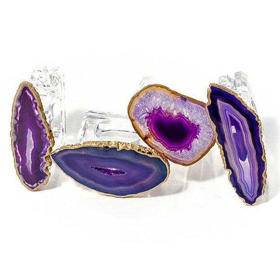 Purple agate napkin rings, Acrylic napkin Rings with Agate, Purple Agate, Table Decor, Napkin Rings