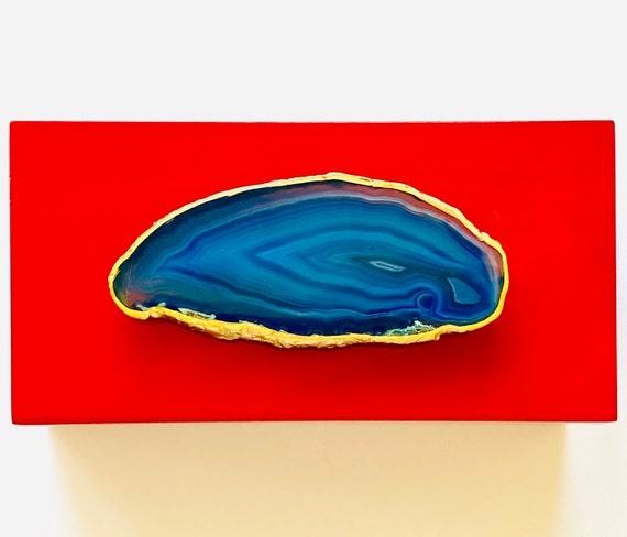 Medium Red Lacquer Box with Blue Agate