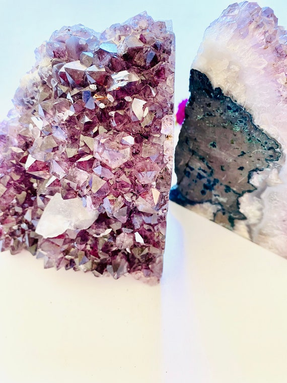 Large Amethyst Bookends, bookends, office decor, stone decor, amethyst, shelf decor, Amethyst, Stone door stop, Crystal bookends