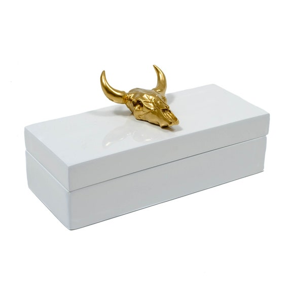 Small white lacquer box with gold bull skull, lacquer box, Longhorn box, White jewelry box, Gold skull box