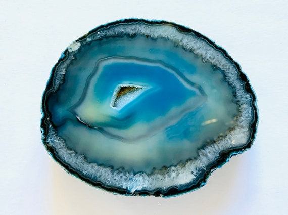 Thick Agate Coaster in Teal Blue, wine Coaster, Coasters, Hostess Gift, Gifts for him, Agate