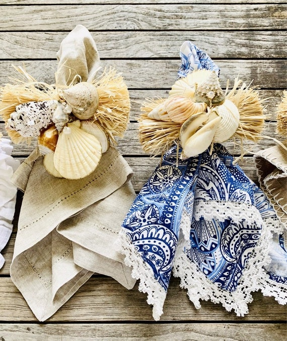 Seashells and pearl napkin rings (set of 4),  Beach house Decor, seashell decor, Napkin Rings, Coastal Decor