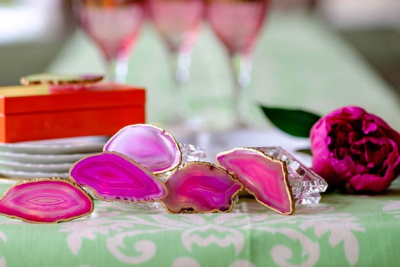 Pink agate napkin rings (set of 4), Napkin Rings, Pink Agate, Agate Napkin Rings, Lucite Napkin Rings, Acrylic Napkin Rings