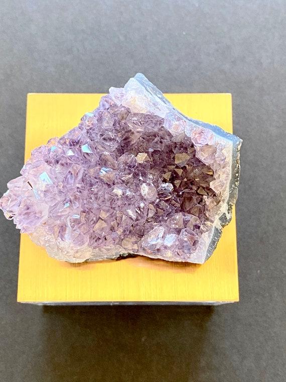 Metallic rose gold gem box amethyst quartz, gemstone box, quartz box, amethyst box, trinket box, ring box, amethyst, Gift Box