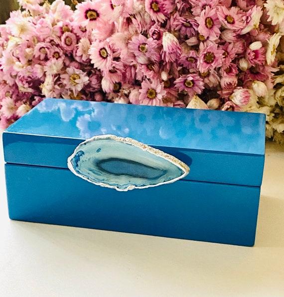 Medium Blue Lacquer Box with Blue Agate, Agate box, Bridal box, watch box, ring box, Gift for him, blue agate box
