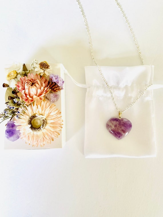 Crystal Gift Box with Heart Necklace, Heart necklace, Get Well Soon Crystal Gift Box, gemstone heart, Wellness Crystal Gift Box, Amethyst