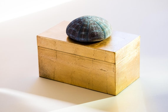 Large Gold Box with Blue Sea Urchin, Coastal Decor, Jewelry Box, Seashell Decor, Coastal Home Gifts