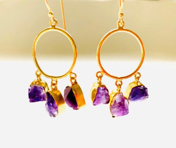 Gemstone Earrings, Amethyst earrings, Purple Crystal Earrings, Amethyst Crystal, OOAK, Amethyst Jewelry, Birthstone Jewelry, Hoop Earrings