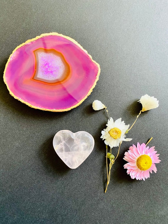 Rose Quartz Heart, reiki gifts,  wellness gifts, agate tray, crystal gifts, crystal heart, stone heart, Valentine's Day gift, rose quartz