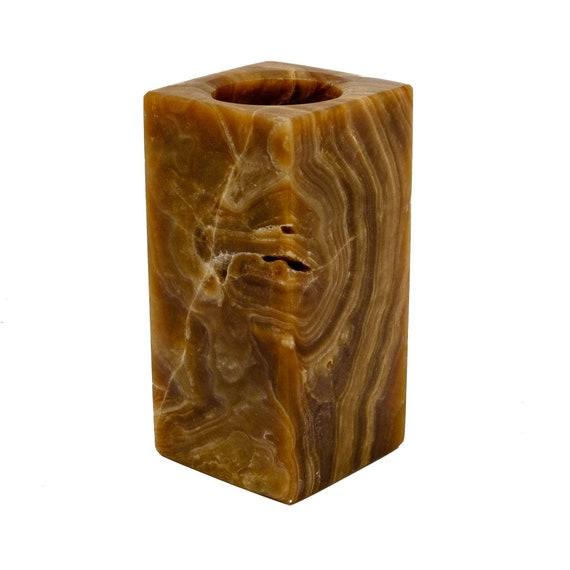 Chocolate onyx candle holder