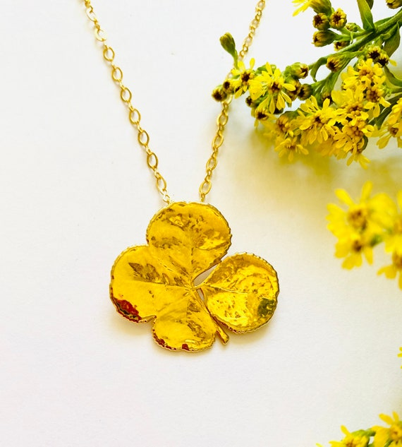 Gold dipped real four leaf clover pendant, Lucky Charm Necklace, Four Leaf Clover Necklace, Wish Necklace, four leaf clover, Lucky Necklace