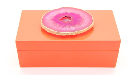 Orange shiny Lacquer box with pink agate druzy geode