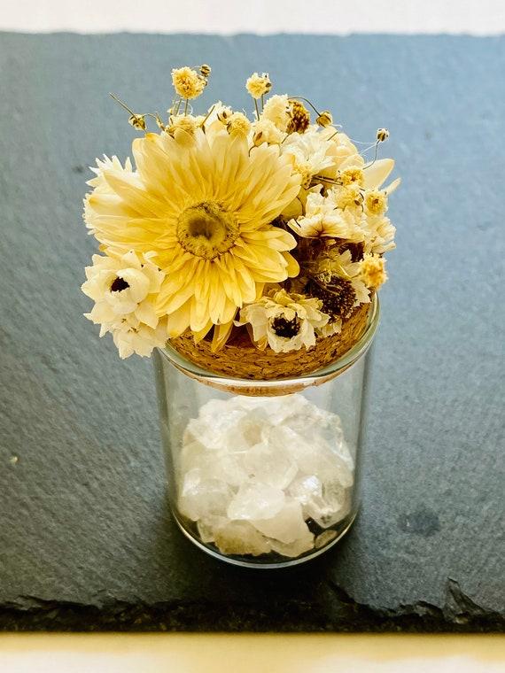 Quartz Crystal Medicine Pots w/ dried flowers, crystal, crystals, crystal box, pill box, stash box, Strawflowers, crystal bottle, diffuser