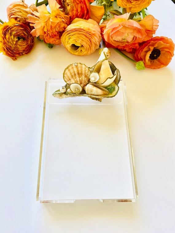 Acrylic Notepad Tray with paper, note pad, notes, pad of paper, seashell note pad, notepad, desk accessories, seashell decor, notepad