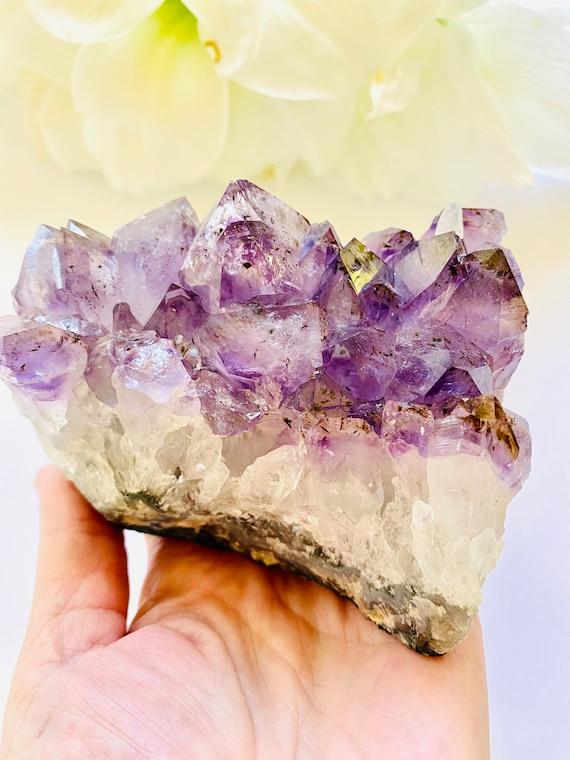 Amethyst, Purple Crystal Gemstone, Raw amethyst Healing, crystal object, Desk decor, home decor in quartz, paperweight