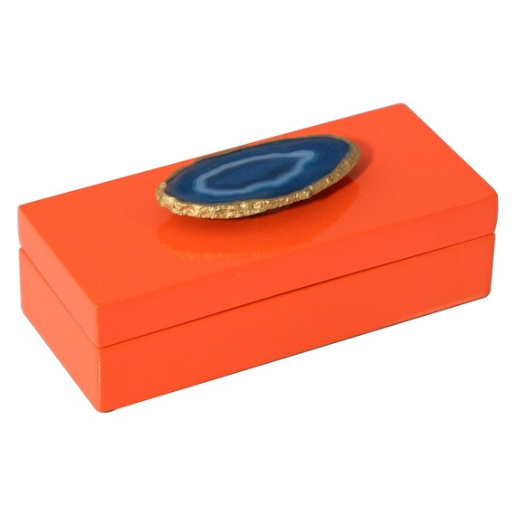 Small orange lacquer box with blue agate, orange lacquer box, Agate box, Desk decor, Home decor box