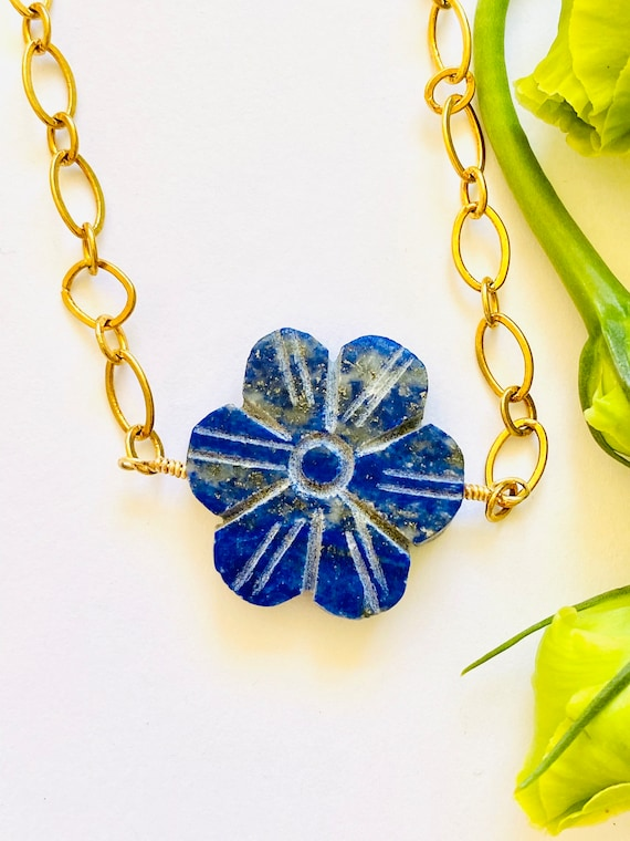 Lapis Flower Necklace, Flower Necklace, Carved Flower Pendant, Lapis Jewelry, Gemstone Necklace, Blue Flower Necklace