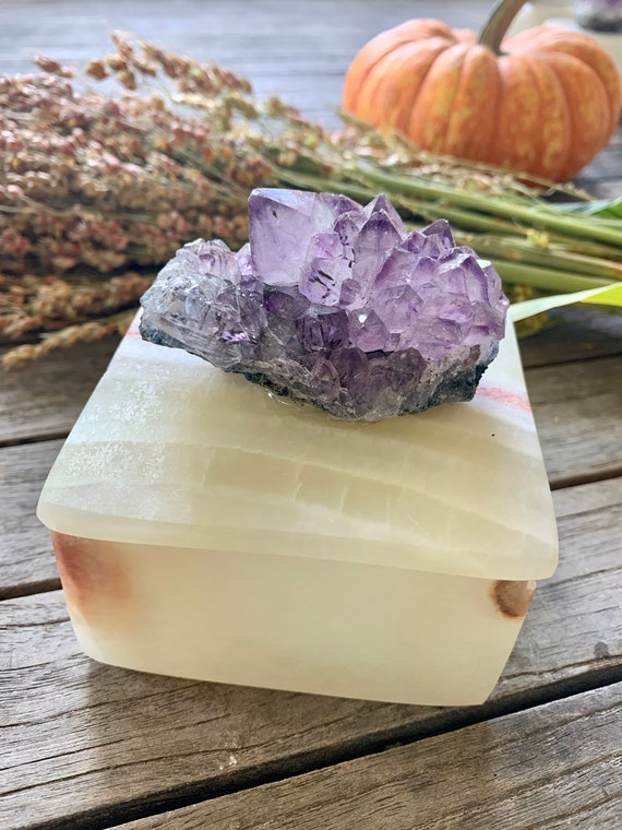 Crystal box Ring Box Gemstone Box Small Square Onyx Box with Amethyst Crystal