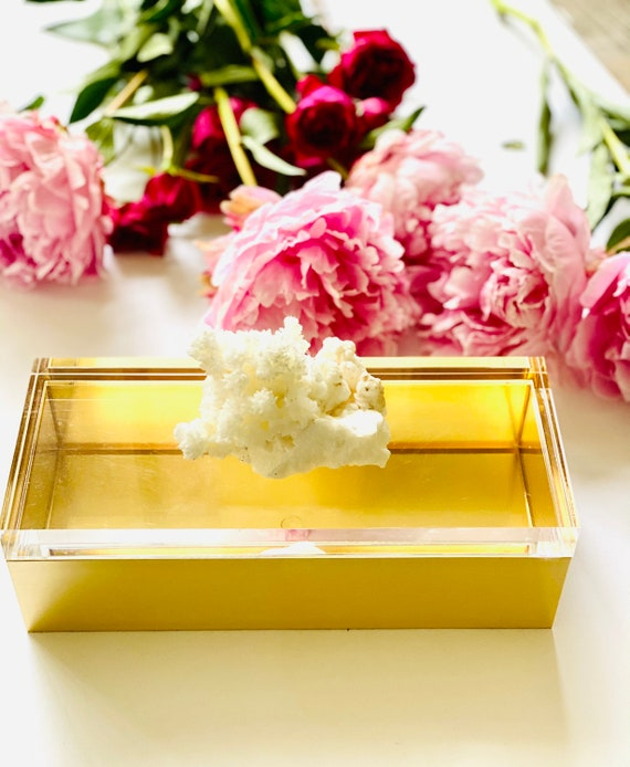 Acrylic Gold Box with White aragonite crystal, Crystal box, Jewelry box, gift box, Gold box, Bridal box, Gifts for her, aragonite