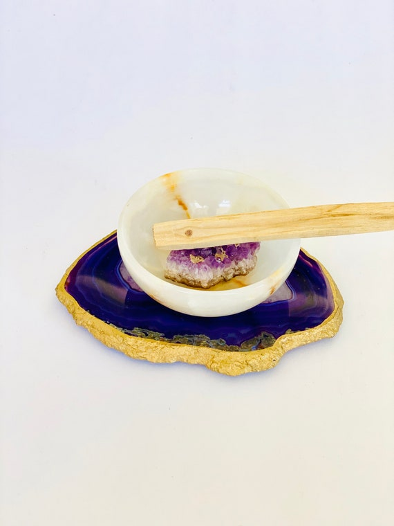 Palo Santo gift set, reiki gifts, wellness gifts, onyx bowl, agate tray, crystal gifts, agate coaster, care package, gifts for her, amethyst