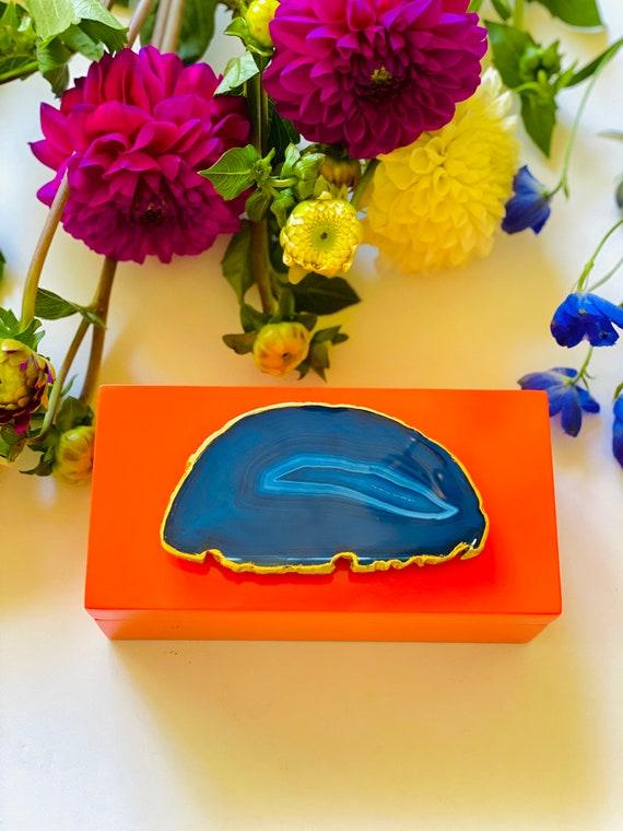 Orange shiny Lacquer box with blue agate druzy geode, orange box, orange and blue box, gift box, agate box, Blue agate box, gift box