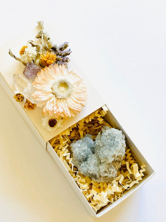 Crystal Gift Box, Geode Crystal Gift Box, Get Well Soon Crystal Gift Box, Self Care Package, Wellness Crystal Gift Box, Celestite Crystal