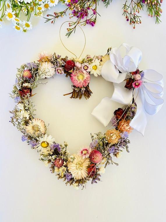 Valentine wreath with dried flowers and herb, dried flower wreath, flower wreath, dried flowers, front door wreath, heart Wreath, valentines