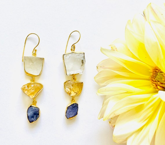 Multi Gemstone Earrings, citrine earrings, Crystal Earrings, Tourmaline Crystal, OOAK, Citrine Jewelry, Birthstone Jewelry, dangle Earrings