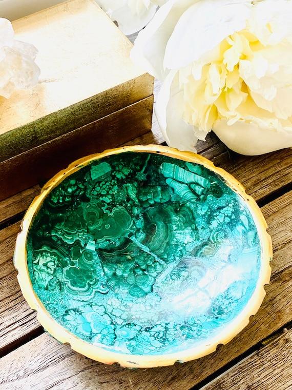 Vintage Malachite catchall dish, malachite bowl, malachite soap dish, Stone bowl, Decor, Home Decor, malachite, Ring dish, Ring Tray,