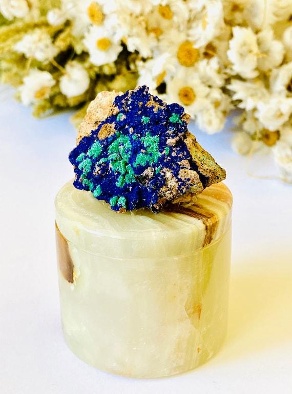 Small Onyx Pill Box with Azurite and Malachite, onyx Box, Crystal box, Ring Box, Bridal box, cuff link box, Pill box, onyx box, stone box