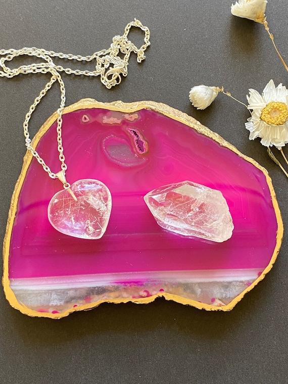 Quartz Heart Necklace, reiki gifts,  wellness gifts, agate tray, crystal gifts, crystal heart, Heart necklace gift, Valentine's Day gift