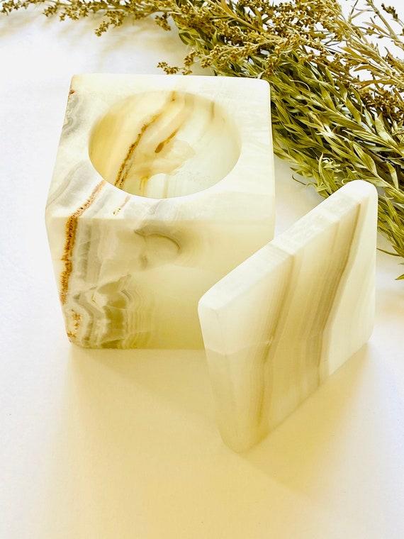 Onyx stone box, onyx, rectangle box, candle holder, vintage stone vase, onyx candle holder, stone vessel