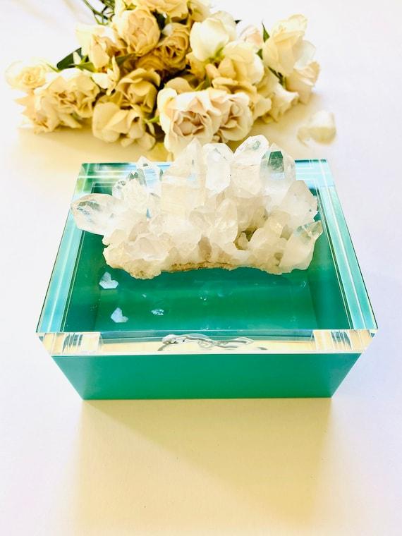 Tiffany Blue Acrylic Box w/ Quartz Crystal, Crystal box, Gifts for her, Jewelry box, ring box, bridal box, wedding gift, blue box