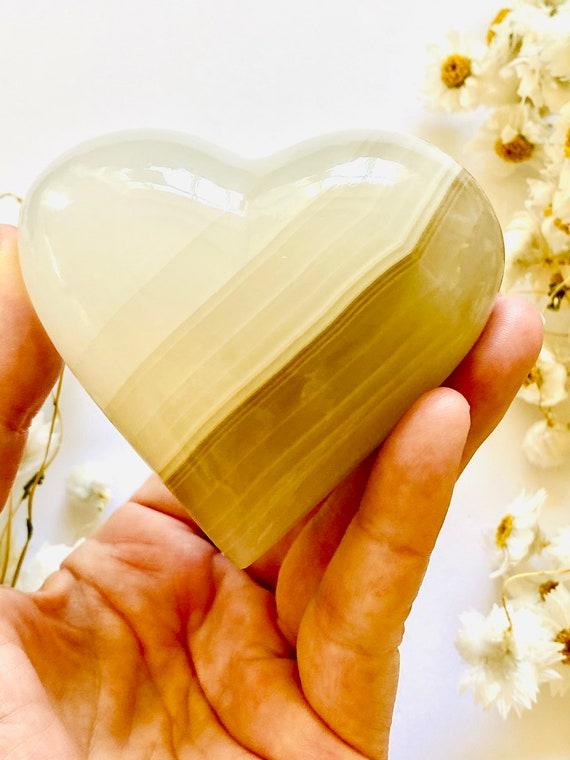Gemstone rock heart in white Onyx, Gemstone hearts, Crystal hearts, Chakra Hearts, Stone Hearts, Onyx, gift of love