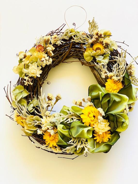 "Botanical wreath dried flowers and herbs, dried flower wreath, flower wreath, dried flowers, 10"" wreath, Fall Wreath, straw flower wreath"