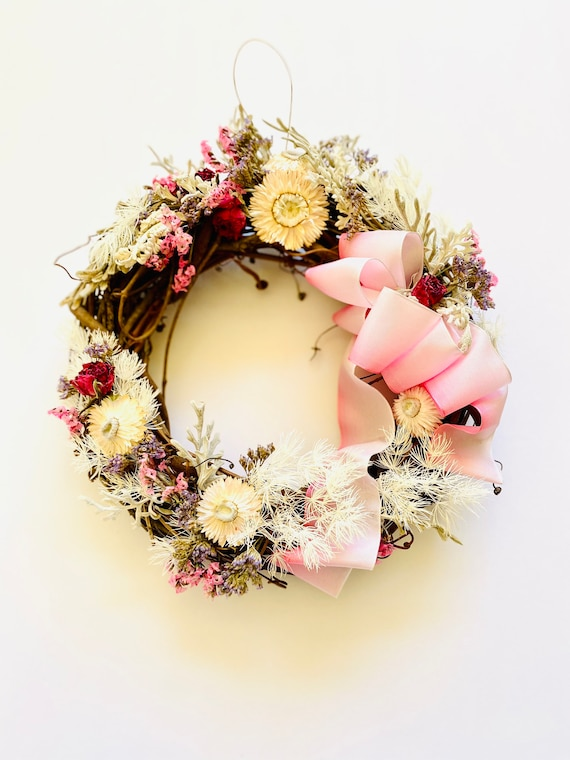 Botanical wreath, dried flowers and herb wreath, dried flower wreath, flower wreath, dried flowers, wreath with french ribbon, flower wreath