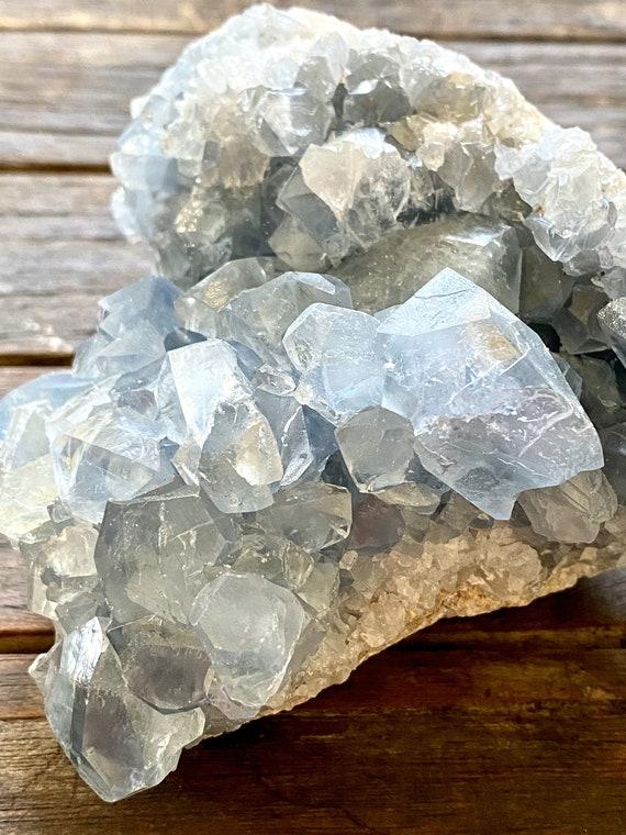 Blue celestite crystal cluster, Blue Crystal, Angel Crystal, Celestite crystal, wellness gifts, paperweights