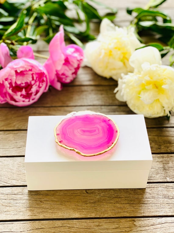 Medium White Lacquer Box with Pink Agate For Valentines Day