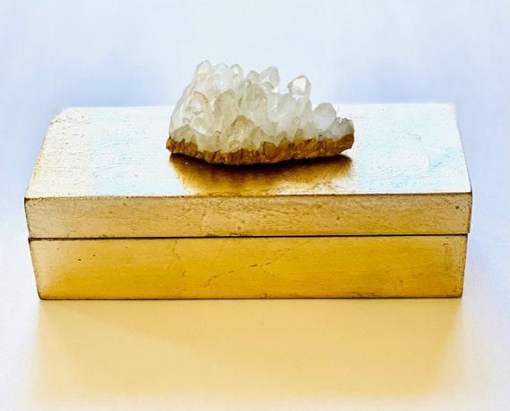 Small brushed gold box with quartz crystal, Gemstone box, Crystal box, Wedding gift box, Jewelry box, Gold Box, Gift Box, Bridal Box