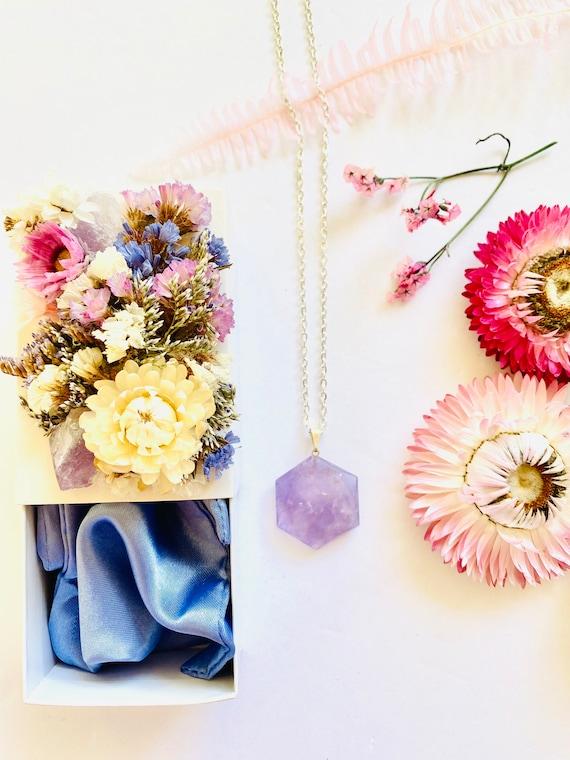 Crystal Gift Box gemstone Necklace, amethyst necklace, Get Well Soon Crystal Gift Box, gemstone heart, Wellness Crystal Gift Box, Amethyst