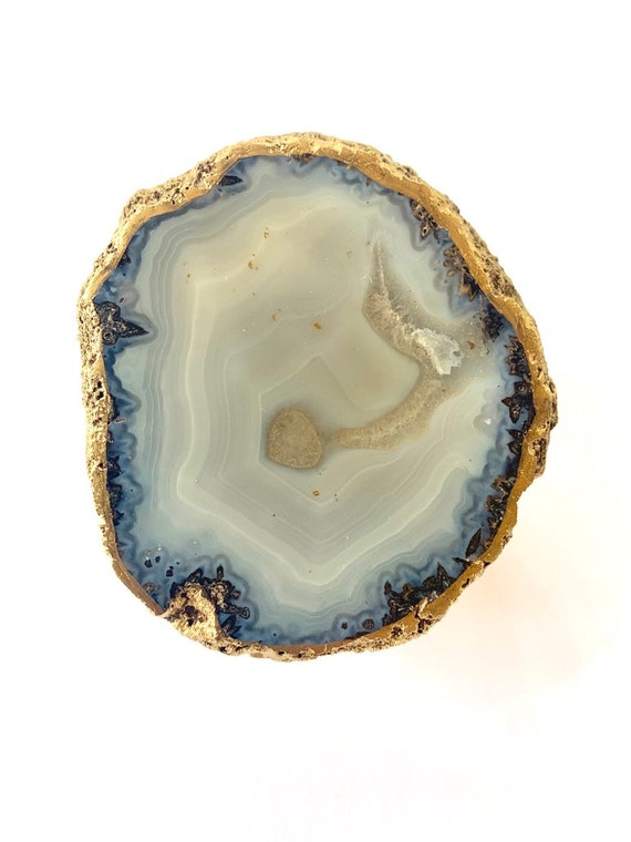 Chalcedony Geode w/ Gold Back, Geode Paperweight, Office Decor