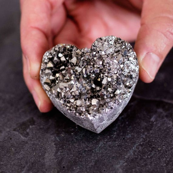Druzy Silver Titanium Heart, Stone Heart, Rock Heart, Paperweight Heart, Crystal Heart, Heart, Care package, gifts for her
