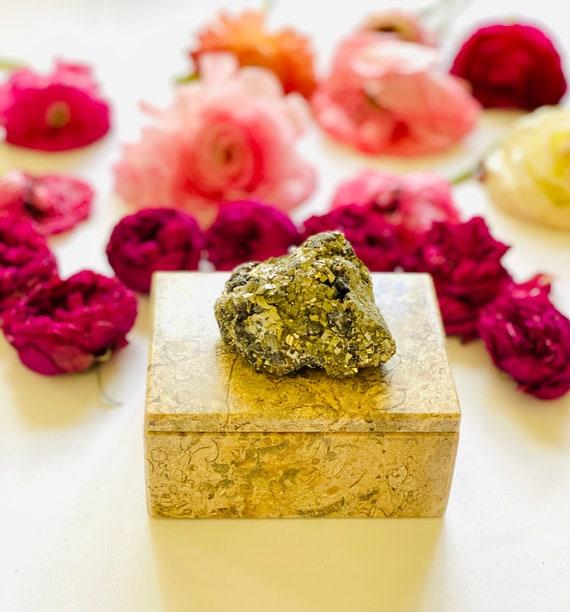 Fossilized Coral Box with Pyrite, vintage stone box, jewelry box, pretty ring box, wedding box, gift box