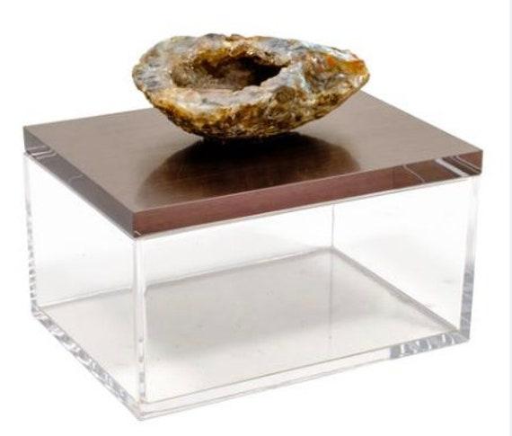 Acrylic Gun Metal Gray Box w/ Geode