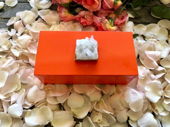 Medium Orange Lacquer Box with Himalayan Crystal