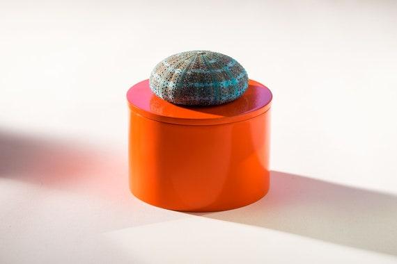 Round Orange Lacquer Box with Turquoise Seashell, Coastal Home Decor, Orange Lacquer box, Jewelry Box
