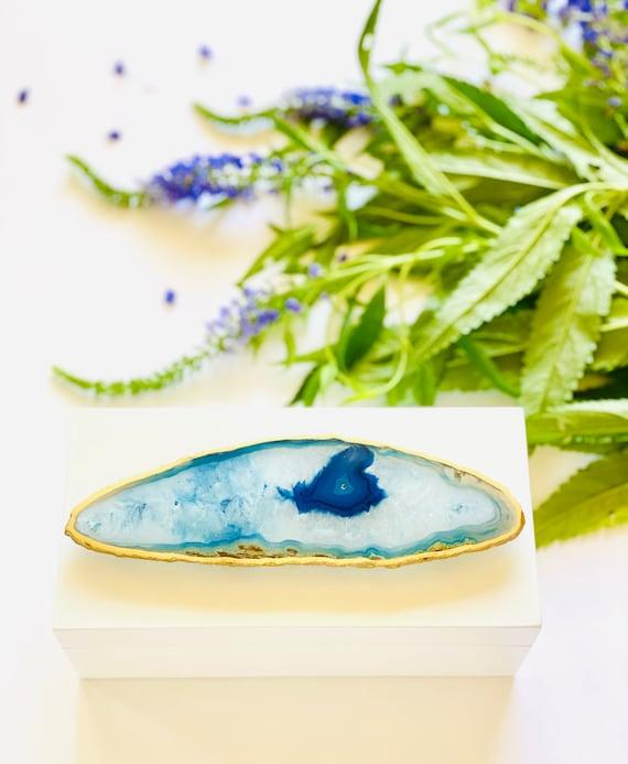 Medium White Lacquer Box with Blue Agate, Storage boxes, Home Decor, Gift Boxes, Agate Box, Gift Box, Bridal Box, Geode Box, Agate