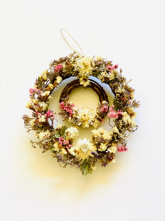 Botanical wreath dried flowers and herbs, dried flower wreath, flower wreath, dried flowers, wreath, straw flower wreaths, dried flowers
